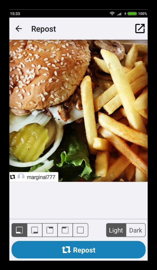 Использование Repost for Instagram