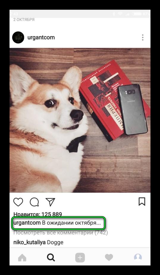 Оригинальная подпись Instagram