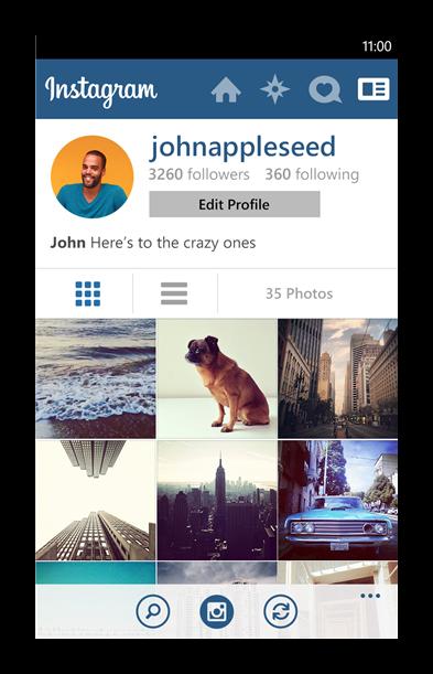 Вид Instagram