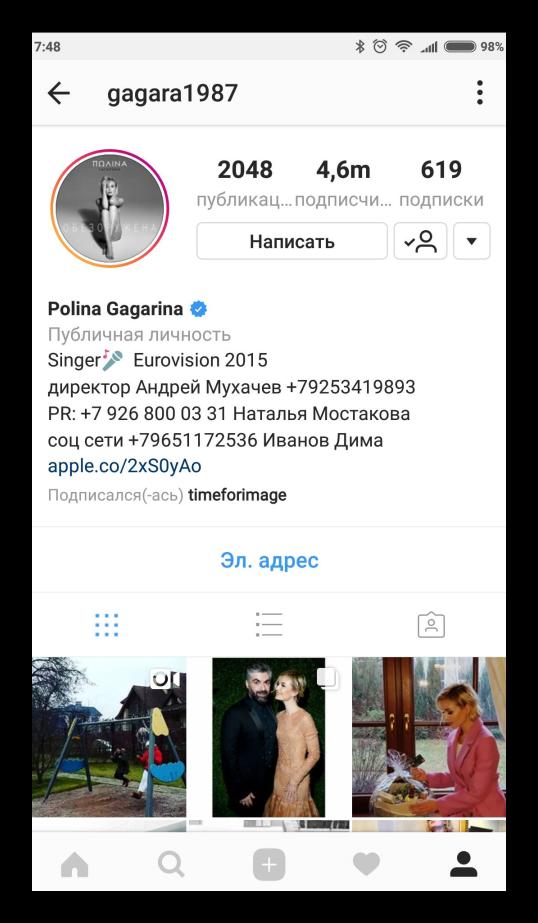Профиль Полины Гагариной Instagram