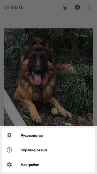 открытие меню в Snapseed на ios